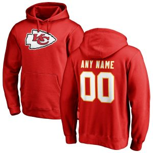 Men's Kansas City Chiefs Red Any Name & Number Logo Personalized Pullover Hoodie