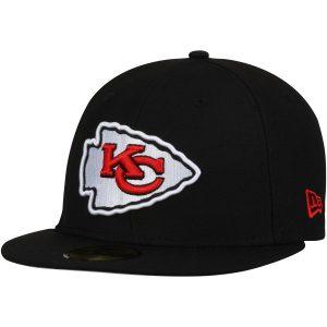 Men's Kansas City Chiefs New Era Black Omaha 59FIFTY Fitted Hat