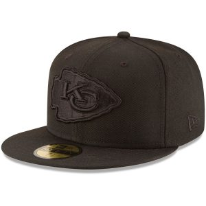 Men's Kansas City Chiefs New Era Black on Black 59FIFTY Fitted Hat