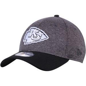 Men's Kansas City Chiefs New Era Heathered Black Logo Shadow Tech 39THIRTY Flex Hat
