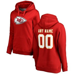 Women's Kansas City Chiefs Red Any Name & Number Logo Personalized Pullover Hoodie