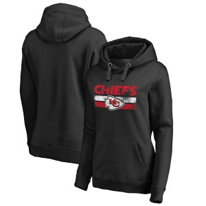 Women's Kansas City Chiefs by Fanatics Branded Black First String Pullover Hoodie
