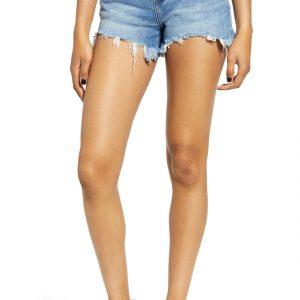 Grommet Waist Cutoff Denim Shorts