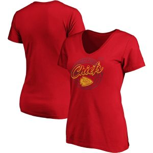 Women's Kansas City Chiefs Majestic Red Showtime Break Free V-Neck T-Shirt