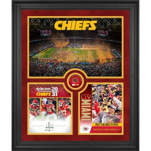 Kansas City Chiefs Framed Super Bowl LIV Champions Team Collage with a Piece of Game-Used Football – Limited Edition