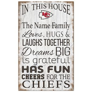 Kansas City Chiefs Personalized 11″ x 19″ In This House Sign