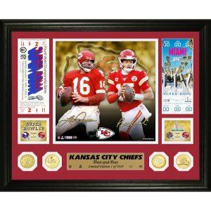 "Len Dawson & Patrick Mahomes Kansas City Chiefs Highland Mint 13"" x 16"" Then and Now Bronze Coin Photo Mint"