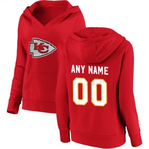 Kansas City Chiefs Women's Red Personalized V-Neck Pullover Hoodie